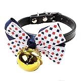 KDSANSO Hundehalsband mit Strass Pet Supplies Hundebindung Fliege Glocke Kleine und Mittlere Hunde Farbpunkt + goldene Glocke 32 * 1cm