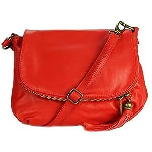 OLIVIA - Sac bandoulière Cuir rouge PALERME N1085 Sac en cuir PRIX DU WEB - Marron, Cuir