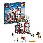 LEGO City Fire Caserma dei Pompieri, Set di Costruzioni con Garage, Camion, 3 Minifigure di Vigili del Fuoco e un… LEGO