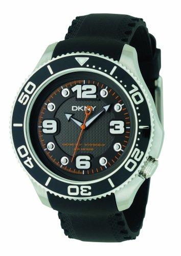 DKNY Ny1364pour homme Bracelet en caoutchouc Noir montre avec cadran noir