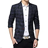BiSHE Mens Plaid Baumwolle Mischung Tweed Blazer Mantel Smart formales Abendessen Anzüge Jacket Men
