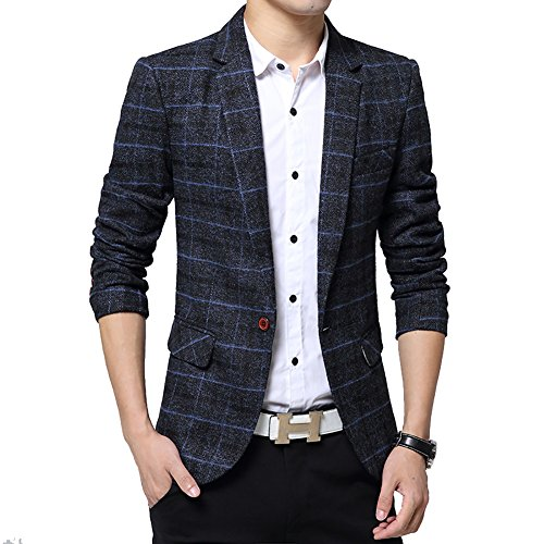 BiSHE Mens Plaid Baumwolle Mischung Tweed Blazer Mantel Smart formales Abendessen Anzüge Jacket Men (Tweed-taste)