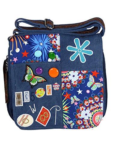 Spalla Di Stile Borsa Di Tela Con Le Patch Cucite, Bottoni E Motivo Floreale - Dimensioni 25 X 25 Cm - Donne, Ragazze, Adolescenti Bag Blu