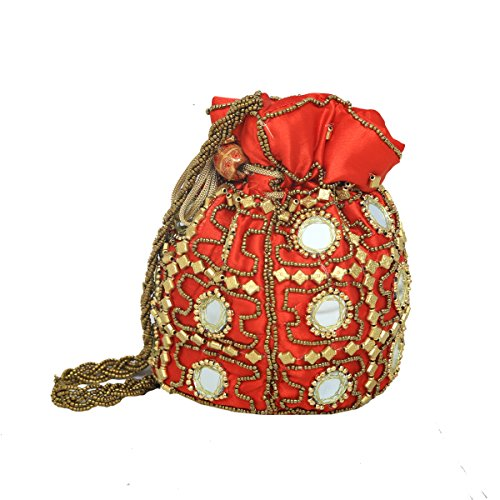 Kuber Industries™ Designer Ethnic Mirror Work Rajasthani Potli Bag / Clutch / Bridal Clutch ( Red )  available at amazon for Rs.299