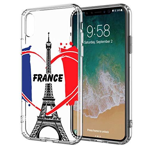 blitzversand Handyhülle Watercolour Paris France kompatibel für iPhone X/Xs We Love Paris France Schutz Hülle Case Bumper transparent M10