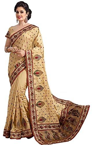 Nivah Fashion Women's Dhupiyan Silk Embroidery With Diamond's Beige Color Saree K658