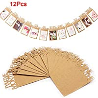 6SlonHy 12Pcs Kids Baby Album Photo Banner Hanging Flag Birthday Home Party Decoration - One Set