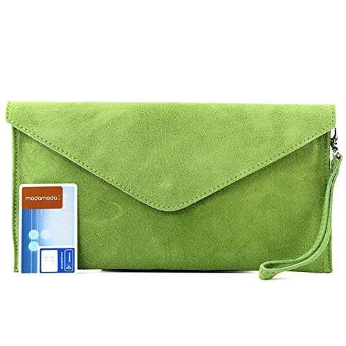 modamoda de–Pochette italiana in pelle, con passante, da donna, camoscio, T106 Verde chiaro