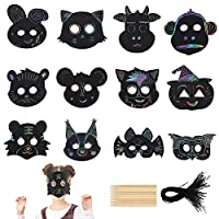 TAZEMAT 24 Sets Scratch Masks Colourful Scratch Animal Mask with Wood Stylus and Elastic Cords Magic Rainbow Scratch Paper for Kids Party Masquerade Arts Craft Activity Supplies Assorted Shapes
