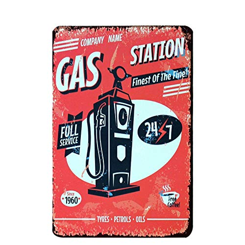 PotteLove Gas Station Vintage Metal Signs Tin Plaques Wall Art Poster for Garage Man Cave Beer Cafee Bar Pub Club Shop Home Decor - Gas Station Sign Display