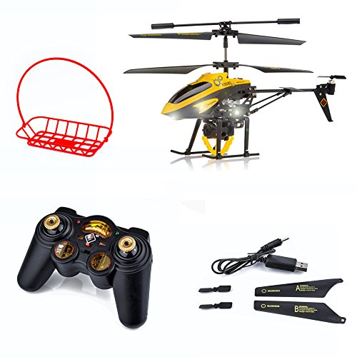 Spire-Tech Remote Control Helicopter 3CH Gyro with Winch & Carry Basket,  LED Search Light Kids Toys Indoors & Outdoors