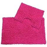 EHC 2-Piece 100 Percent Cotton Tumble Twist Bathmat and Pedestal Mat Set, Hot Pink