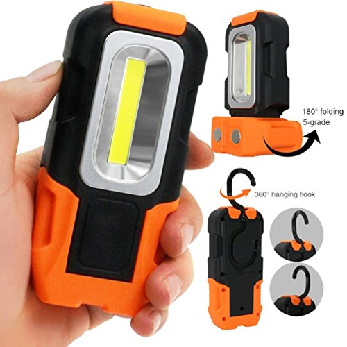 Magnet Faltbar Haken LED Taschenlampe, Siswong Superhell Rotieren Basis Draussen Hände frei Erkunden Arbeitslampe Inspektionsleuchten (Flache Led Taschenlampe)