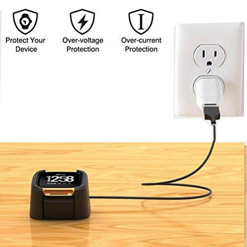 HKFV Ersatz-USB-Ladekabel Docking Station Kabel für Fitbit Versa Ladeschale Dock Zubehör mit Telefonständer USB Charging Usb Cradle Docking Station