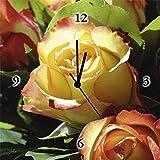 Artland analogico da parete di quarzo orologio digitale della Stampa tela su telaio in legno con motivo Jule Primavera Botanica Rose Fiori Rose Fotografia Giallo 30x 30x 2,8cm a5ob