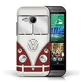 Coque de Stuff4 / Coque pour HTC One/1 Mini 2 / Titan Rouge Design / Rétro T1 Bus Campeur Collection