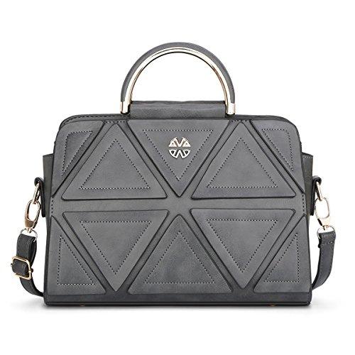 HQYSS Borse donna Spalla di cuoio Classic Messenger borsa leggera solido Colore Donne Crossbody Bag Tote regolabile , red gray