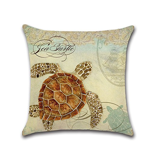 Gysad Muster des Meereslebens Pillow case Vintage Kissenbezug Leinen Dekokissen 45 * 45CM Ave Marina -