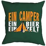 Witziges Kissen für den echten Kerl - Camping Fan - bedrucktes Dekokissen mit Füllung als humorvolle Geschenk Idee