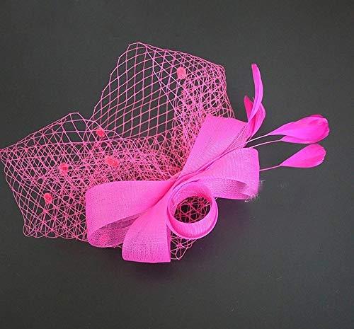 ochzeitskopfschmuck der Braut Hut Blume Mesh Bänder Federn Tea Party Cocktail Stirnband für Mädchen und Frauen (Color : Pink, Size : Free Size) ()