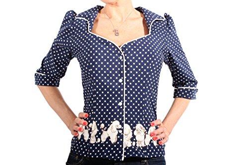 SugarShock Damen Polka Dots Retro Rockabilly Puffarm Pudel Punkte 3/4arm Bluse blau S -