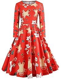 VICGREY ❤ Donne Ragazzine di Natale Vestito dalla Stampa Swing Manica Lunga  da Partito Vestito- Abiti Natale Donne… abbedf3178f