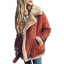 d4c4e878c0 Minetom Damen Mäntel Mode Warm Casual Streetwear Winterjacke Wildleder  Wolle Motorradjacke Fleece Outwear Jacke Parka Mit