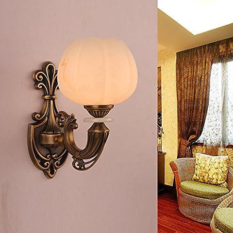 SAEJJ-Lámpara de pared, lámpara de estilo europeo, sala de estar, dormitorio, iluminación del vestíbulo, lámpara de cobre amarillo vintage de cobre