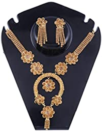 Ansh Creations Jewellery American Diamond Gold Plated Necklace Set / Jewellery Set With Earrings For Women - B077L2ZB6X
