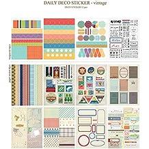 Set de 12 hojas Vintage Deco Pegatinas de papel etiqueta de regalo scrapbooking