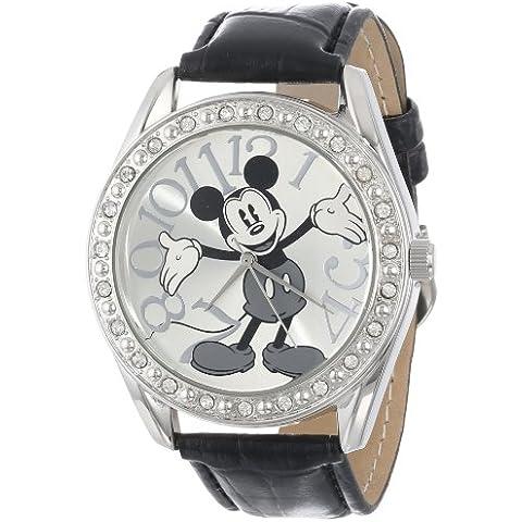 Disney Unisex MK1015 Mickey Mouse plateado Negro Reloj con correa de piel de cocodrilo