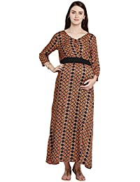 35663ee589 Mine4Nine Women s Orange Rayon Midi Maternity Dress