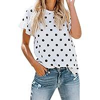 YCQUE Frauen Dame Sommer Mode Lässig Plus Größe Mädchen Oansatz Druck Dot Kurzarm Wilde Retro Elegante Hälfte Lose T-Shirt Tops Bluse
