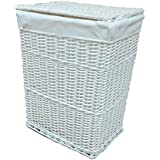 Arpan Large White Wicker Laundry Basket With White Lining by ARPAN