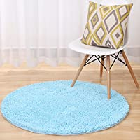 garwarm redondo escalonado (Chenille suave antideslizante superficie fácil de limpiar alfombras piso moqueta Mats Pad para habitación de los niños salón cocina dormitorio decoración para el hogar con 7tamaño, rosa, Chenilla, azul, 60 cm