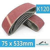 10 x bandes abrasives 75x533 mm grain 120, bande de ponçage Ponceuse