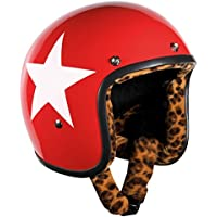 Bandit - Casco de motocicleta, color rojo con diseño de estrella y forro de estampado