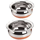 "Sonigram Serving HANDI 2 Pcs. Set - Copper Bottom 1900ml, 2500ml."" Copper Bottom - Stainless Steel - Big Size Cookware Handi"""