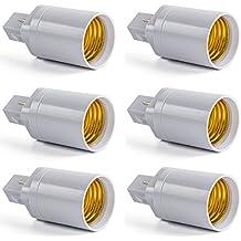 AWE-LIGHT Convertidor Adaptador de Bombilla Lampara LED G24 a E27 Base Enchufe de Tornillo, 6 unidades
