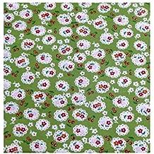 Green, motivo: fioritura ciliegi tessuto in cotone, vendita al metro