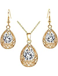 Felvy 18K Gold Plated Crystal Dangle Filigree Pendant Necklace And Earrings Set In A Gift Box For Girls And Women