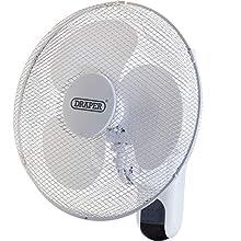 "Draper 09113 16"" Wall Mounted Remote Control Fan (400mm), White"