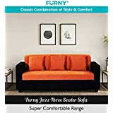 Furny Jazz Three Seater Sofa (Orange- Black)