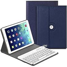 Ipad Air 1 2 teclado,COO cubierta protectora del teclado inalámbrico Bluetooth para Apple iPad Air 1 2 con rotación de 360 grados y soporte multi-ángulo (Azul oscuro)