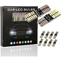 10PCS T10 LED Ampoules de Voiture Lampe 4014 SMD 24 LED, MODOCA 4014 Veilleuse Canbus Sans Erreur 12V, Blanc