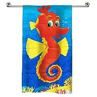 Little 1's Cotton Beach Sea Horse Towel - Blue