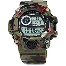 Leopard Shop Skmei Militar reloj LED deportes reloj de pulsera Día Fecha Alarma Cronómetro, diseño de camuflaje color