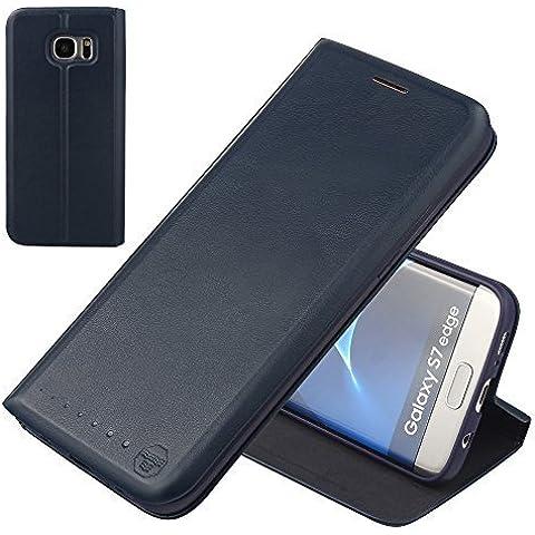 Nouske Samsung Galaxy S7 Edge Funda protectora de tipo Cartera para teléfonos móviles/TPU protección frente a golpes/Estuche para tarjetas de crédito/Soporte/Conciso y Ultra delgado/Hebilla magnética,azul marino.