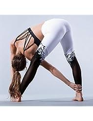 movimiento corporal impresión costura pantalones de yoga blanco y negro estiran las polainas apretadas , white , m