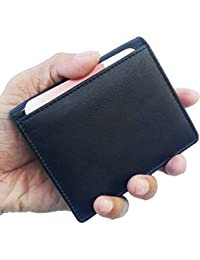 PELLET® Black New Genuine Leather Card Holder Cum Wallet With Magnet Closure